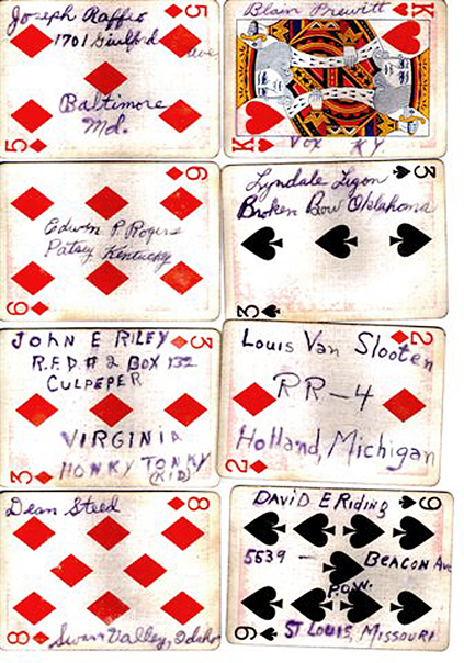 playing cards pictures with names