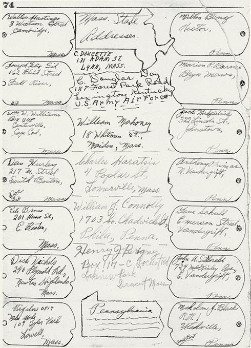 Clifford Houben's Address List | Camp 59 Survivors