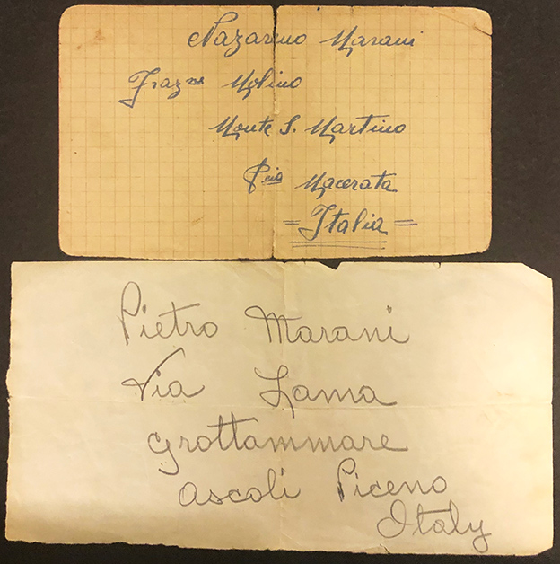 two cards with Italian addresses