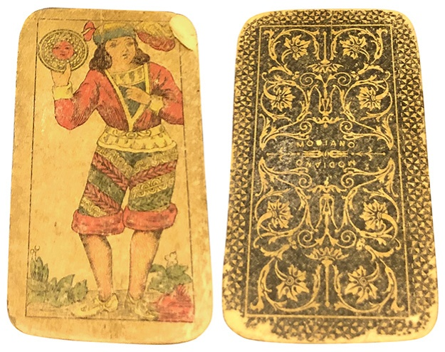 A playing card, front and back