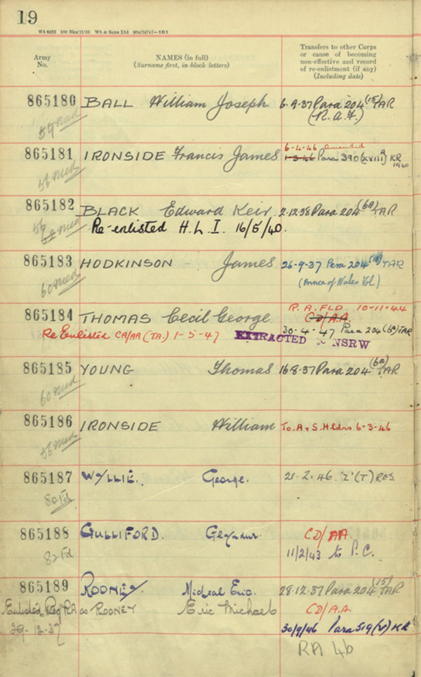 a military record