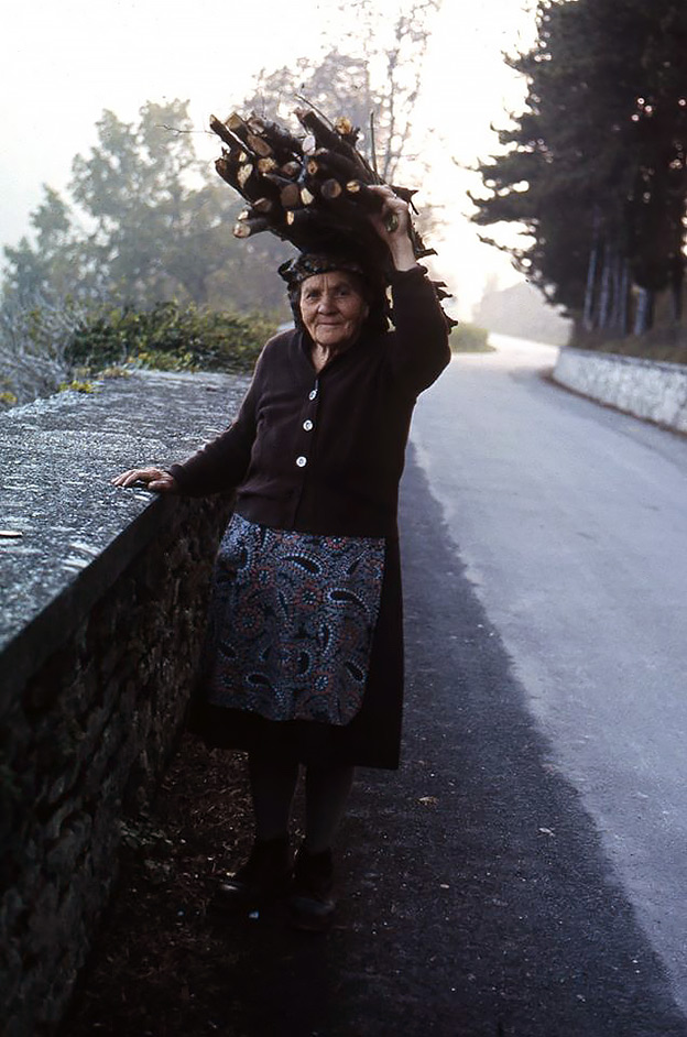 an old Italian woman carries a bundle of sticks on her head