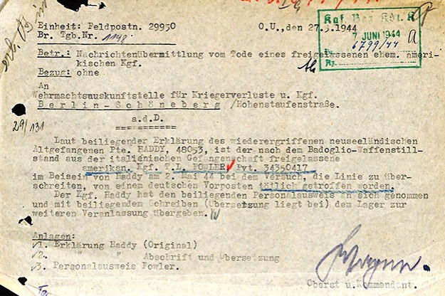 German document regarding Travis Fowlers' death