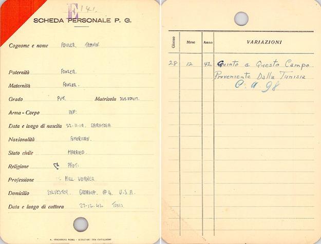 Travis Fowler's Italian POW card, NARA